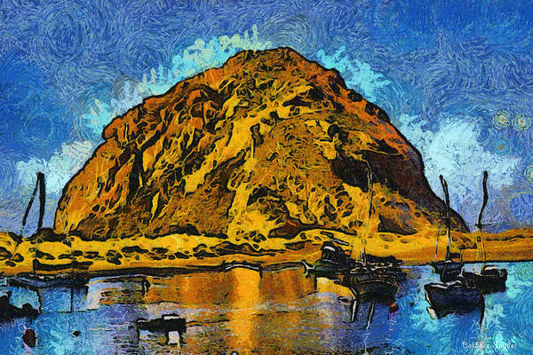 Morro Bay Digital Art - Abstract Morro Rock Morro Bay by Barbara Snyder
