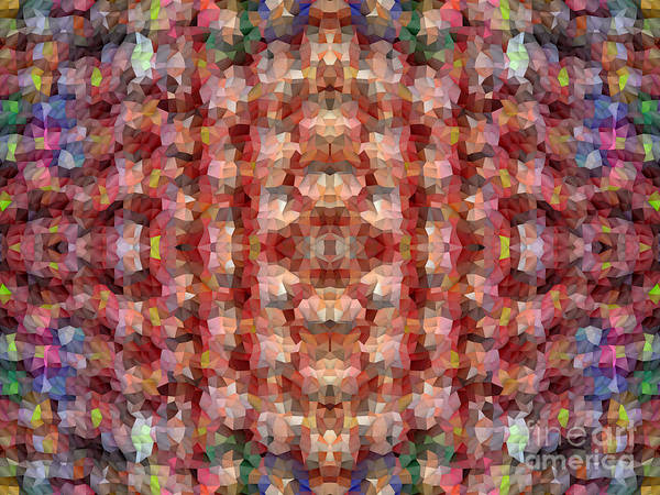 Diagonal Digital Art - Abstract Mosaic In Red Rainbow by Beverly Claire Kaiya