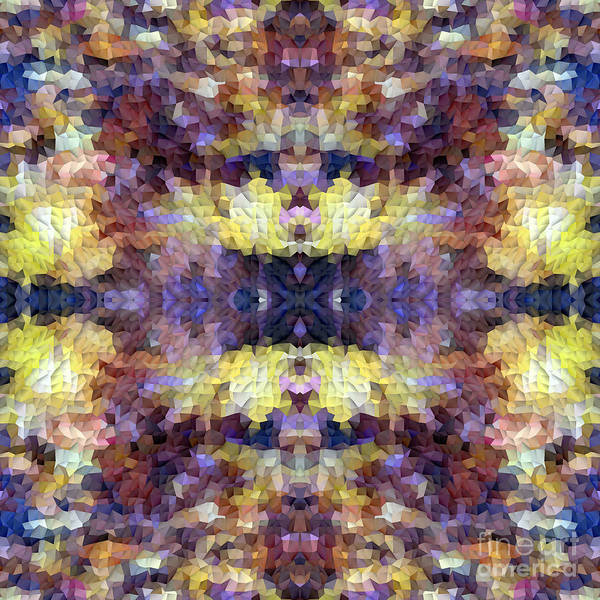 Digital Art - Abstract Mosaic In Yellow Blue Purple by Beverly Claire Kaiya