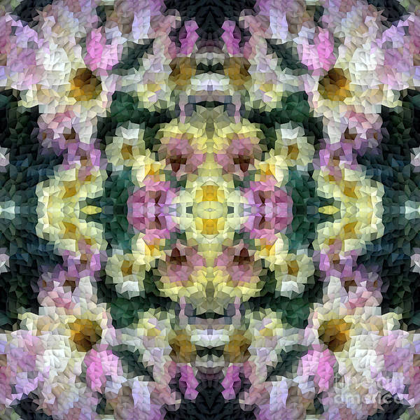 Diagonal Digital Art - Abstract Mosaic In Yellow Pink Green by Beverly Claire Kaiya