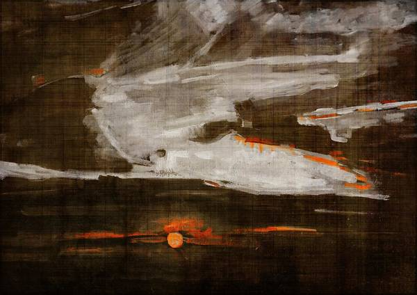 Abstract Motion Behind The Sunset Clouds Art Print