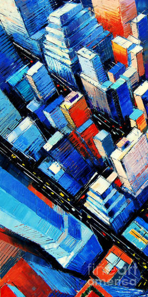 Office Buildings Wall Art - Painting - Abstract New York Sky View by Mona Edulesco