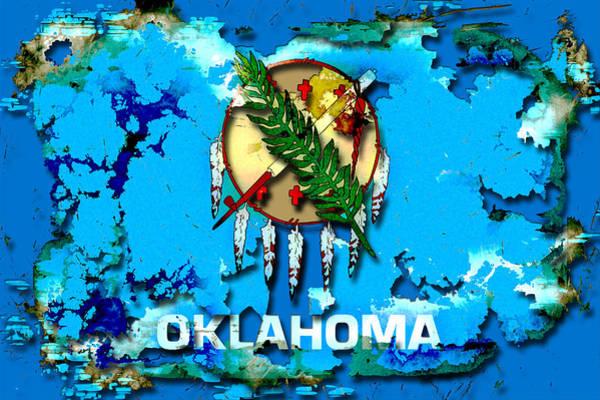 Olive Branch Digital Art - Abstract Oklahoma Flag by David G Paul