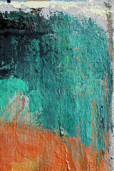 Vertical Abstract Photograph - Abstract Painted  Green And Orange Art by Ekely