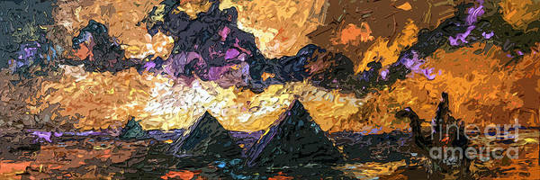 Camel Rider Painting - Abstract Panoramic Egypt And Pyramids Desert Sun by Ginette Callaway