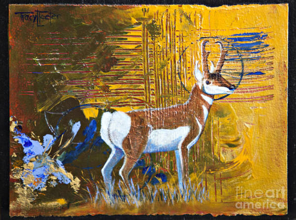 Wall Art - Painting - Abstract Pronghorn Antelope by Tracy L Teeter
