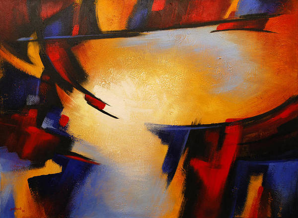 Painting - Abstract Red Blue Yellow by Glenn Pollard