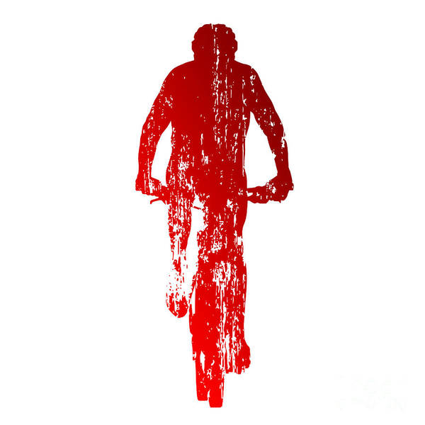 Young Man Wall Art - Digital Art - Abstract Red Mountain Biking by Michal Sanca
