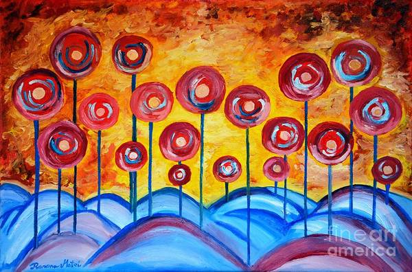 Wall Art - Painting - Abstract Red Symphony by Ramona Matei