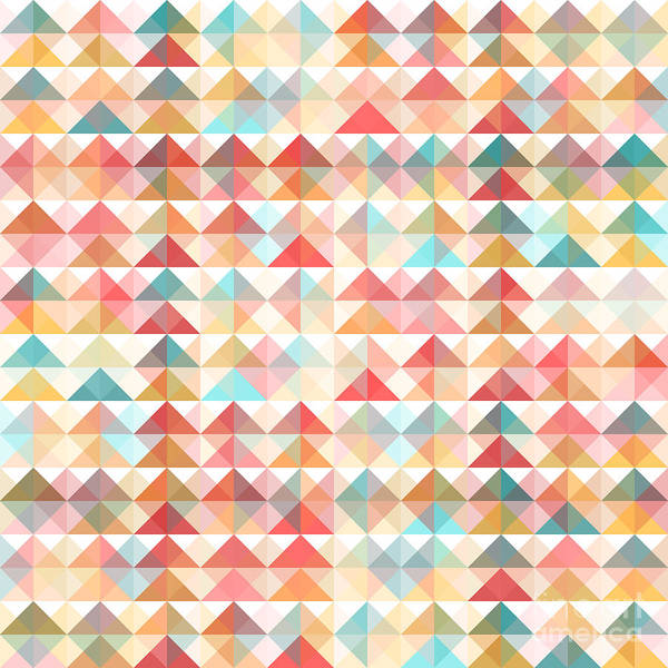 Triangle Digital Art - Abstract Retro Geometric Background by Colorjuli