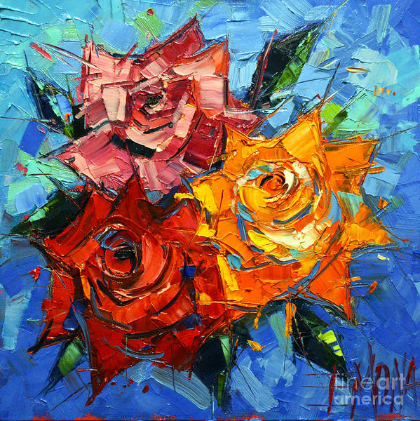 Orange Rose Painting - Abstract Roses On Blue by Mona Edulesco