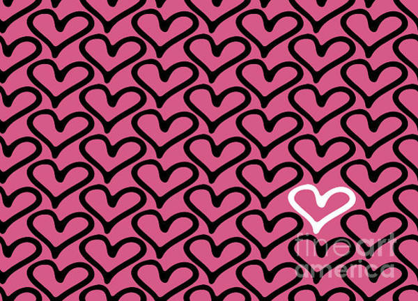 Shapes Digital Art - Abstract Seamless Heart Pattern by Ann Volosevich