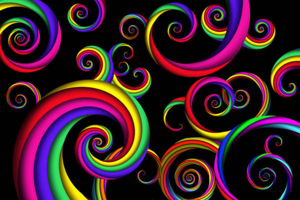 Cheery Digital Art - Abstract - Spirals - Inside A Clown by Mike Savad