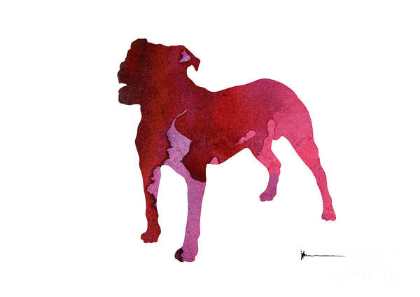 Staffordshire Wall Art - Painting - Abstract Staffordshire Terrier Watercolor Art Print Painting by Joanna Szmerdt