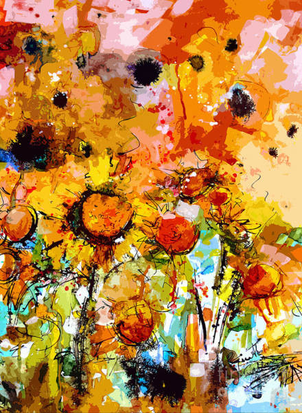 Painting - Abstract Sunflowers Contemporary Expressive Art by Ginette Callaway