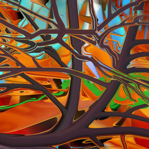 Digital Art - Abstract - Tree In Autumn by rd Erickson