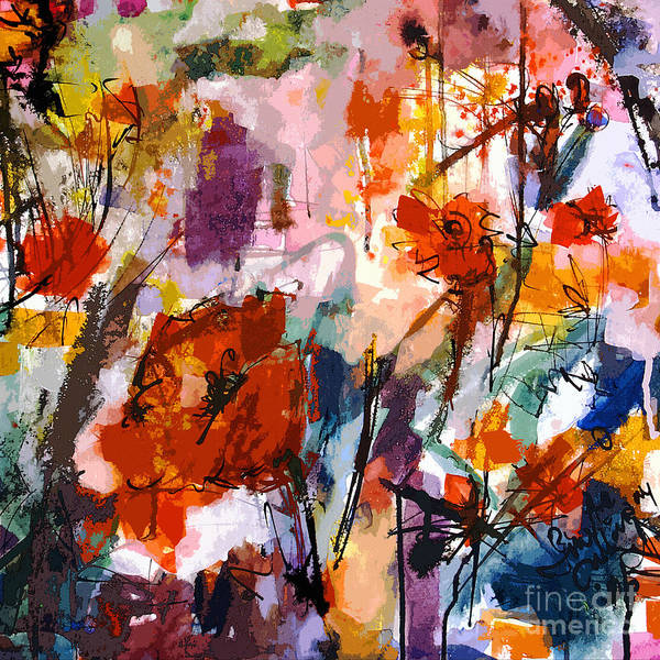 Painting - Abstract Tuscan Poppies Square Format by Ginette Callaway
