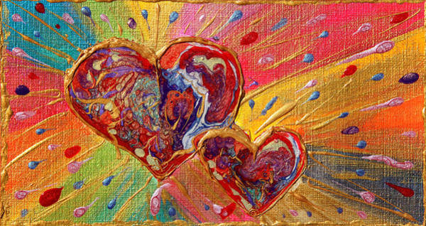 Painting - Abstract Valentines Love Hearts by Julia Apostolova