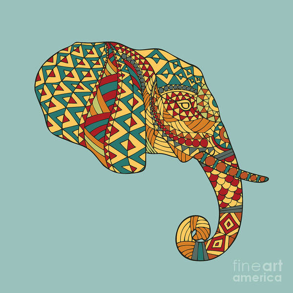 African Tribal Digital Art - Abstract Vector Image Of An Elephants by Yuriy2012