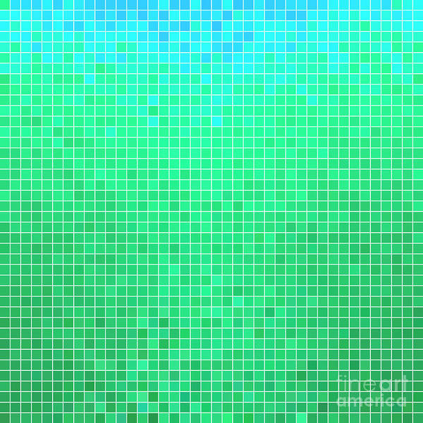 Space Digital Art - Abstract Vector Square Pixel Mosaic by Green Flame