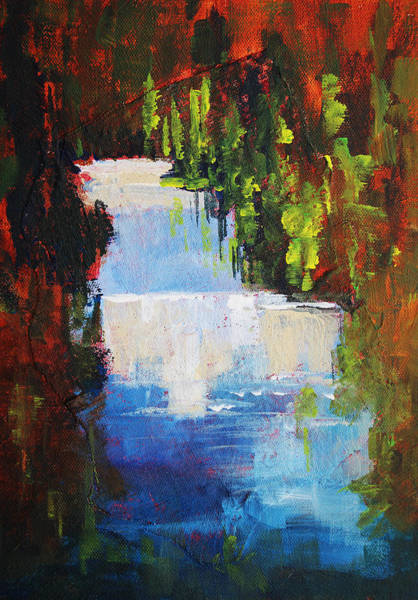 Wall Art - Painting - Abstract Waterfall Painting by Nancy Merkle