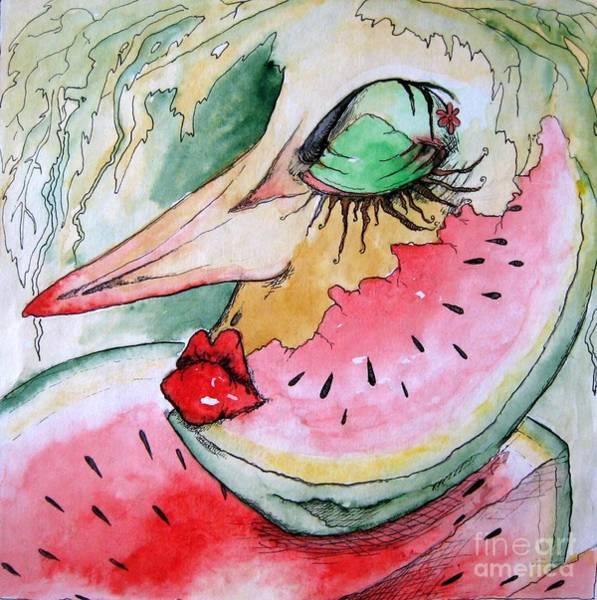 Watermellon Wall Art - Drawing - Abstract Watermellon by Maryna Salagub