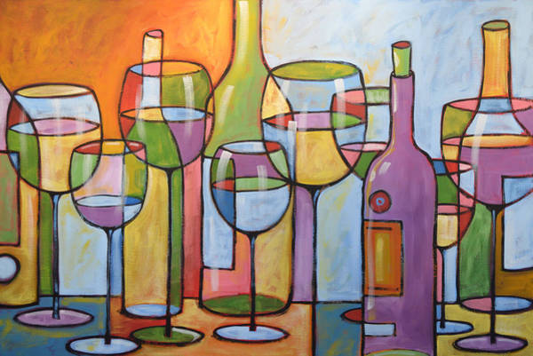 White Wine Wall Art - Painting - Abstract Wine Dining Room Bar Kitchen Art ... Time To Relax by Amy Giacomelli