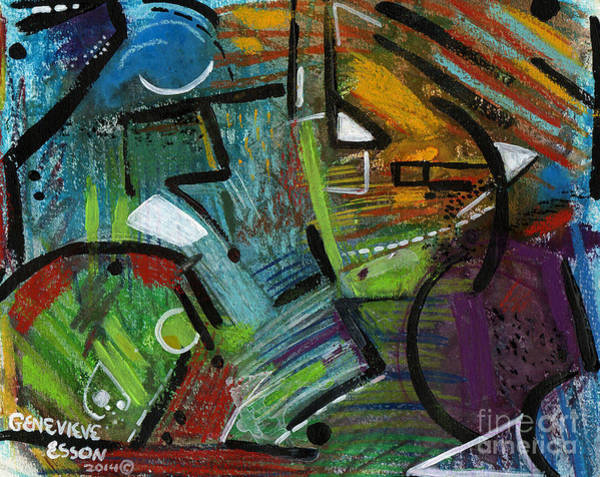 Fauve Painting - Abstract With Black Lines by Genevieve Esson