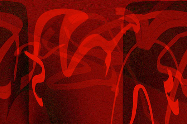 Gestural Digital Art - Abstract With Red Lines by Lynda Lehmann