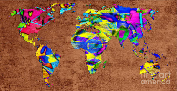 Digital Art - Abstract World Map - A Wide World Of Color - One by Andee Design