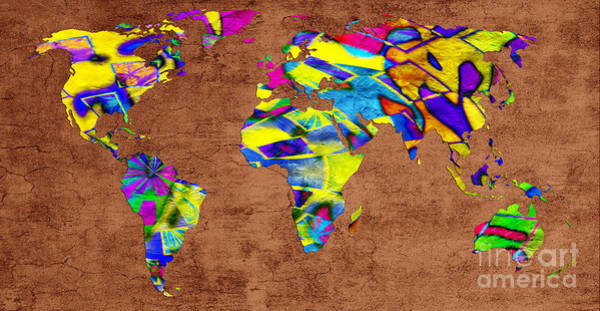 Digital Art - Abstract World Map - A Wide World Of Color - Two by Andee Design