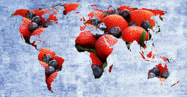 Photograph - Abstract World Map - Berries And Cream - Blue by Andee Design