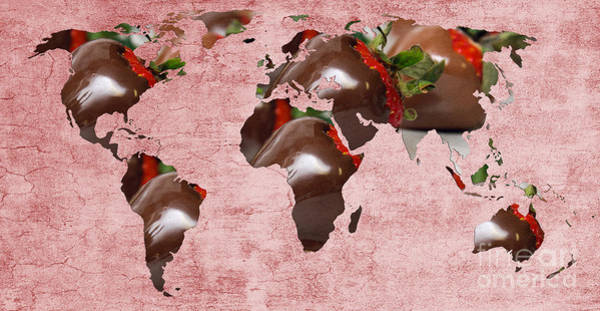 Photograph - Abstract World Map - Chocolate Covered Strawberries - Candy Shop by Andee Design