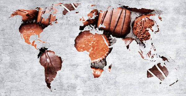 Photograph - Abstract World Map - Chocolates - Confections - Candy Shop by Andee Design