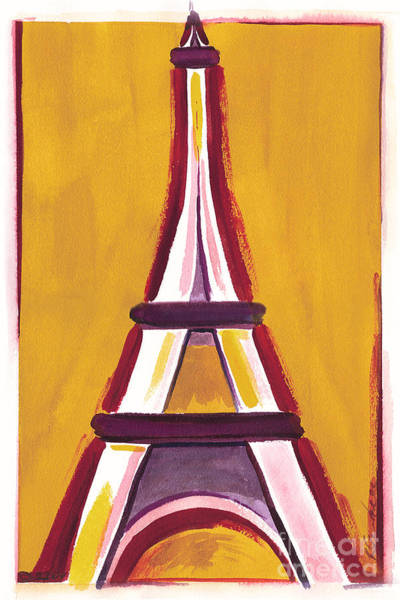 Abstract Yellow Red Eiffel Tower Art Print