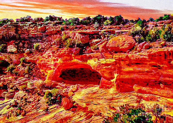 Photograph - Cave In Canyon Dechelly National Park - Sunset by Bob and Nadine Johnston