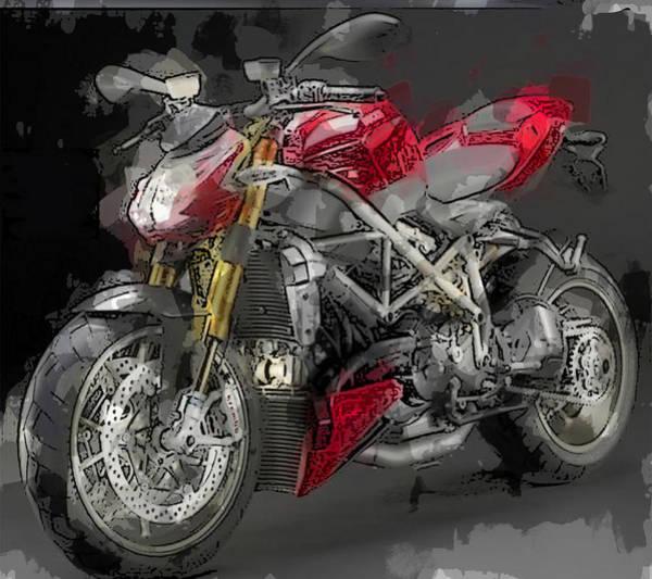 Bike Racing Painting - Abstracted Red Italian Street Racer Motorcycle by Elaine Plesser