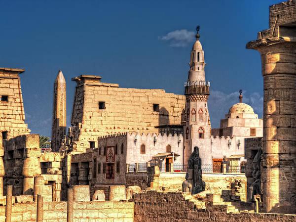 Photograph - Abu Haggag Mosque And Luxor Temple by Nigel Fletcher-Jones