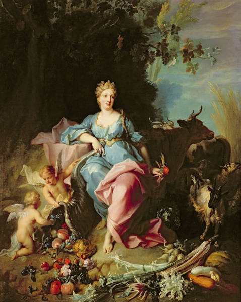 Putto Photograph - Abundance, 1719 Oil On Canvas by Jean-Baptiste Oudry