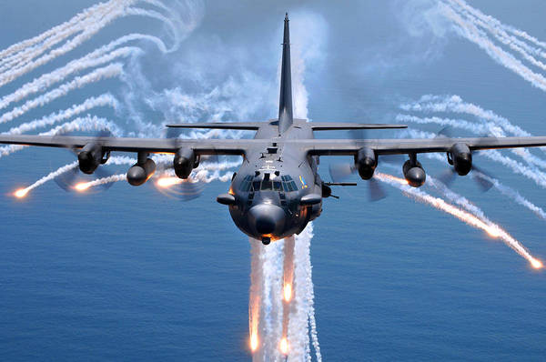 Army Air Corps Photograph - Ac-130h Spectre Jettisons Flares by Celestial Images
