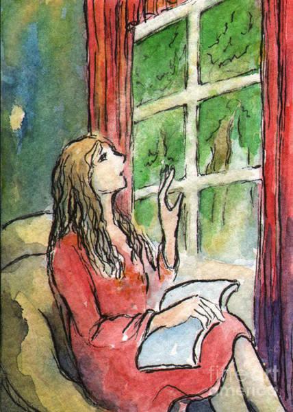 Atc Painting - Ac297 Reading By Window by Kirohan Art