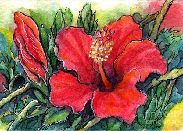 Atc Painting - Ac332 Hibiscus Flower by Kirohan Art