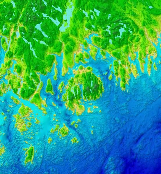 Mounted Digital Art - Acadia Maine Map Art by Paul Hein