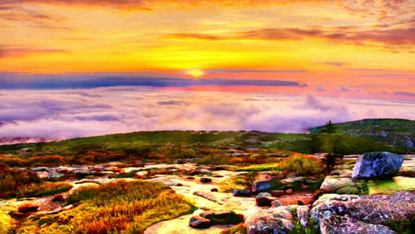 Digital Art - Acadia National Park Cadillac Mountain by Bob and Nadine Johnston