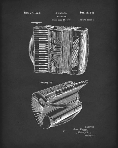 Drawing - Accordion 1938 Patent Art Black by Prior Art Design
