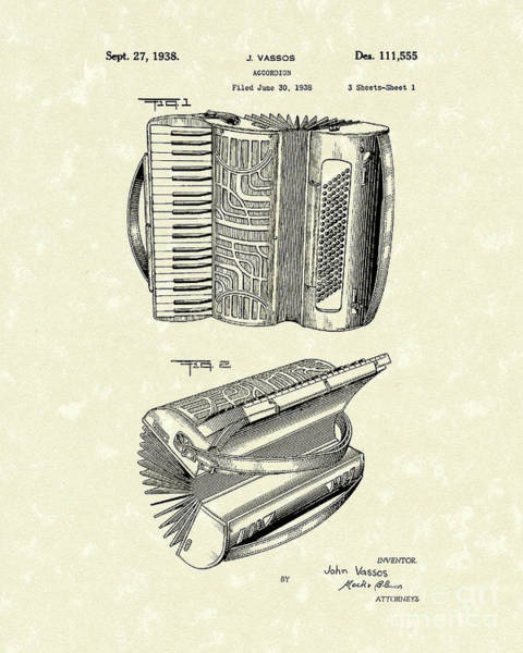 Drawing - Accordion 1938 Patent Art by Prior Art Design