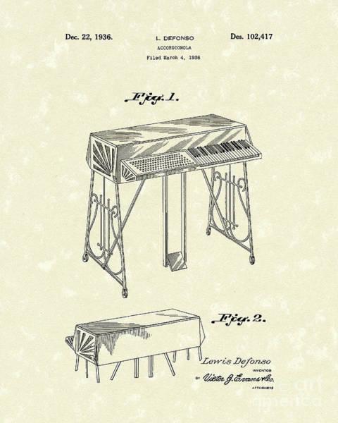 Wall Art - Drawing - Accordionola 1936 Patent Art by Prior Art Design