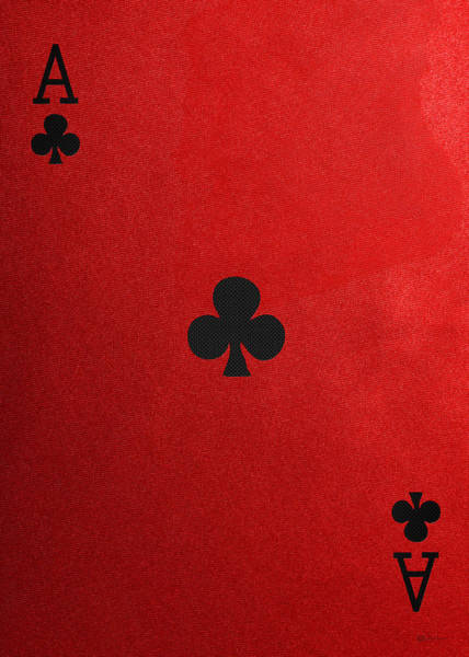 Digital Art - Ace Of Clubs In Black On Red Canvas   by Serge Averbukh