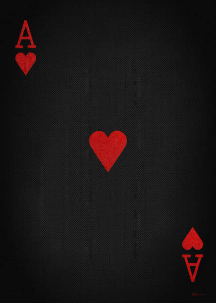 Digital Art - Ace Of Hearts In Red On Black Canvas   by Serge Averbukh