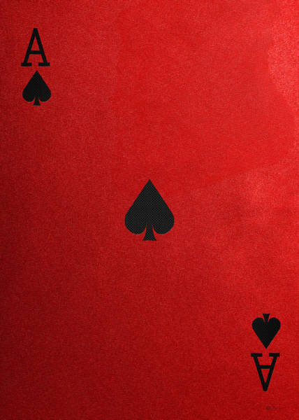Digital Art - Ace Of Spades In Black On Red Canvas   by Serge Averbukh